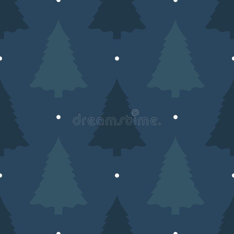 Fundo sem emenda bonito pelo Feliz Natal ou o ano novo Pinheiro em um fundo escuro Teste padrão para o papel de envolvimento ou o ilustração stock