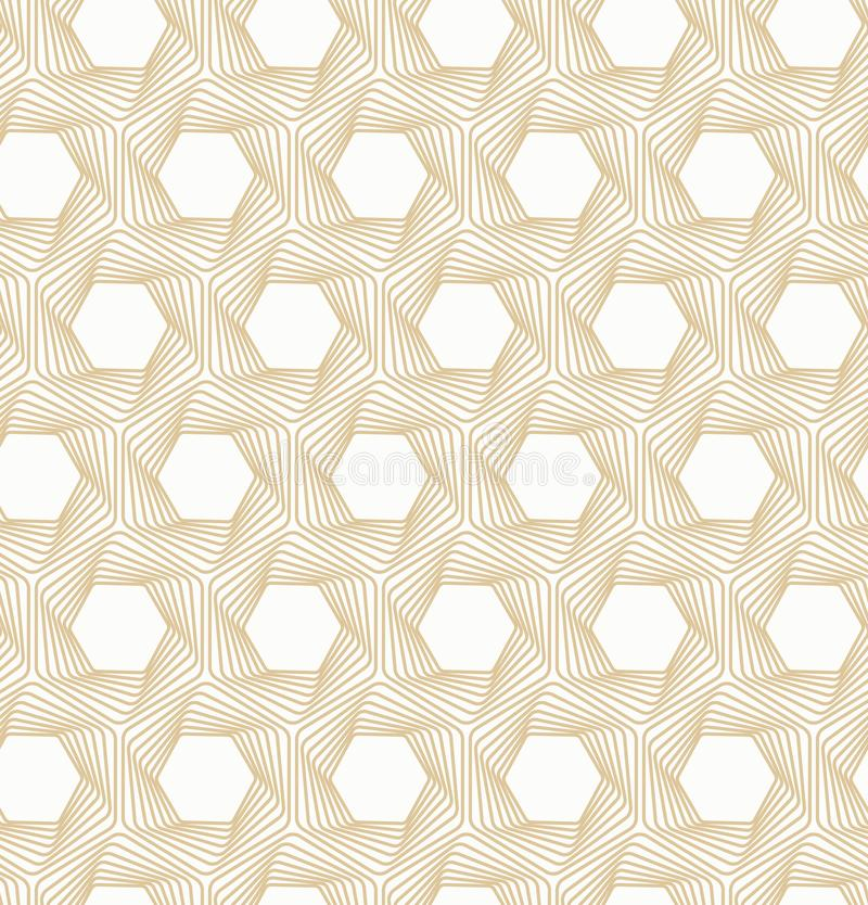 Fundo sem emenda branco do vetor e do ouro Linha teste padrão da ilusão ótica ilustração stock