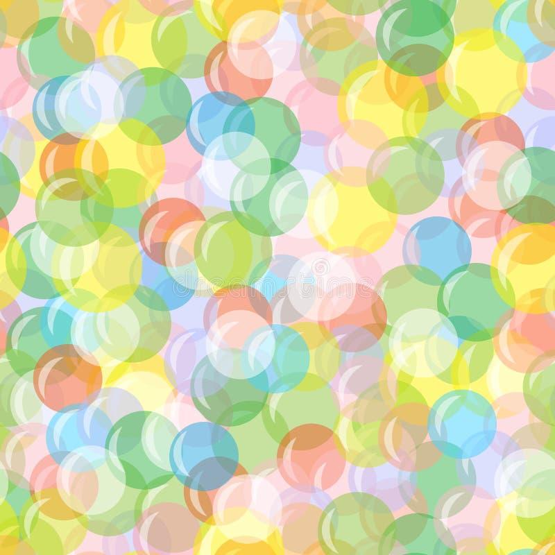 Fundo sem emenda brilhante com balões, círculos, bolhas Teste padrão festivo, alegre, abstrato Para cartões, papel de envolviment ilustração stock