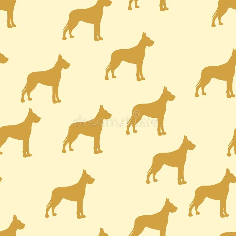 Fundo sem emenda, cão das crianças, cão alemão Vetor de amarelo, retro, vintage ilustração stock