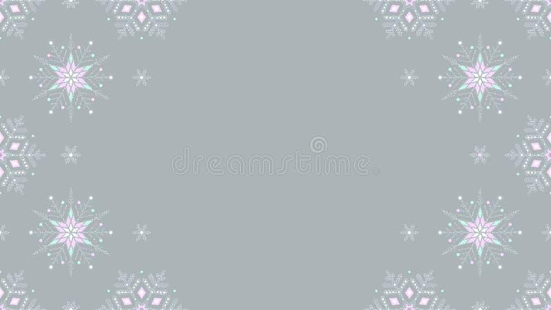 Fundo sem emenda cinzento congelado do grunge ornamentado dos flocos de neve ilustração stock