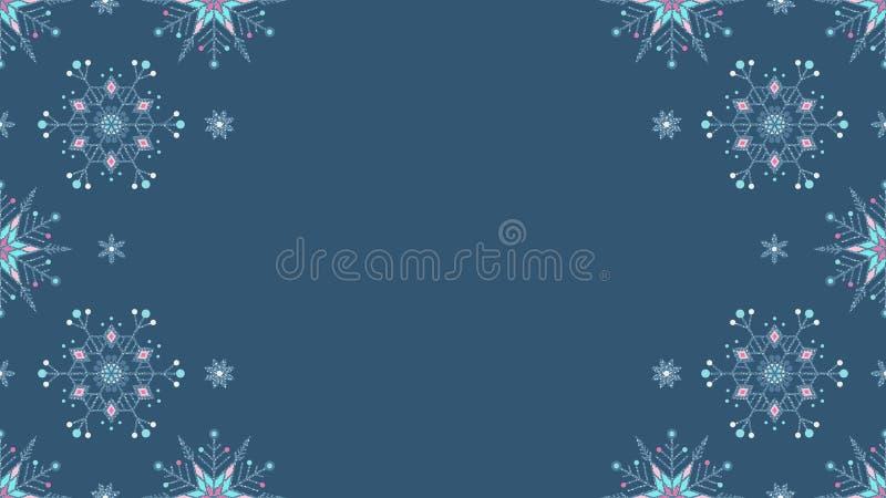 Fundo sem emenda cinzento congelado do grunge ornamentado dos flocos de neve ilustração do vetor
