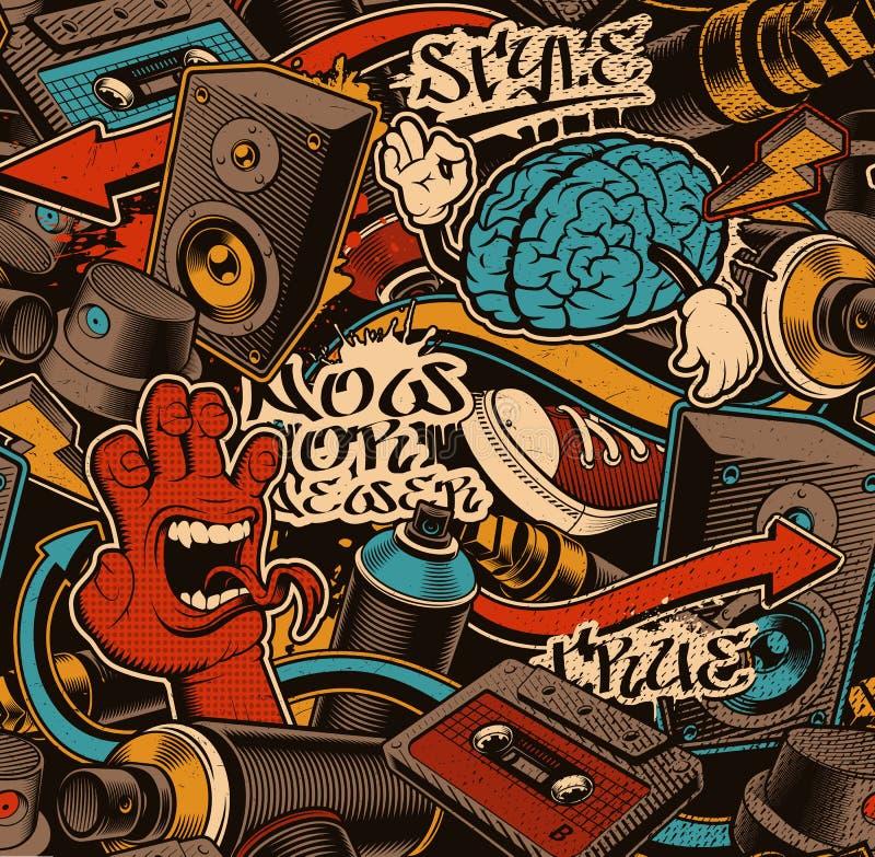 Fundo sem emenda colorido com arte da garatuja dos grafittis ilustração do vetor
