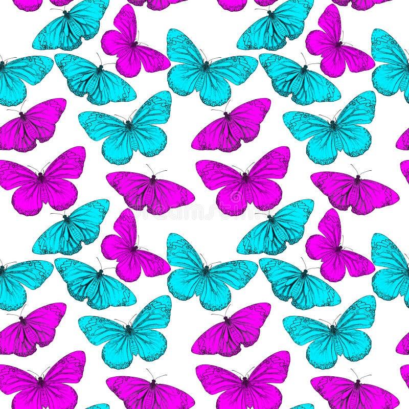 Fundo sem emenda colorido da borboleta ilustração stock