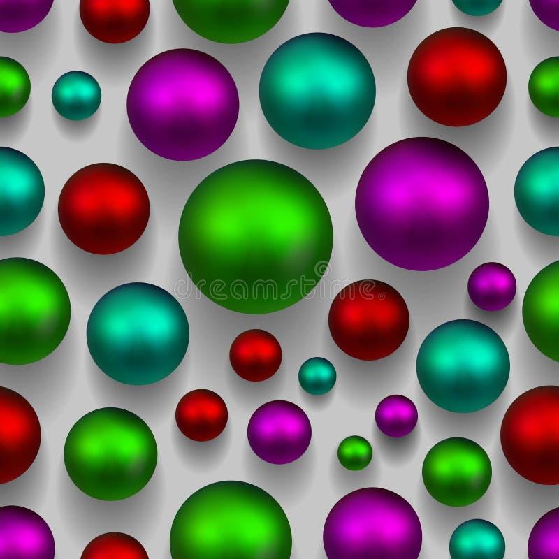 fundo sem emenda colorido das bolas 3d Cor verde, cor-de-rosa, roxa ilustração do vetor
