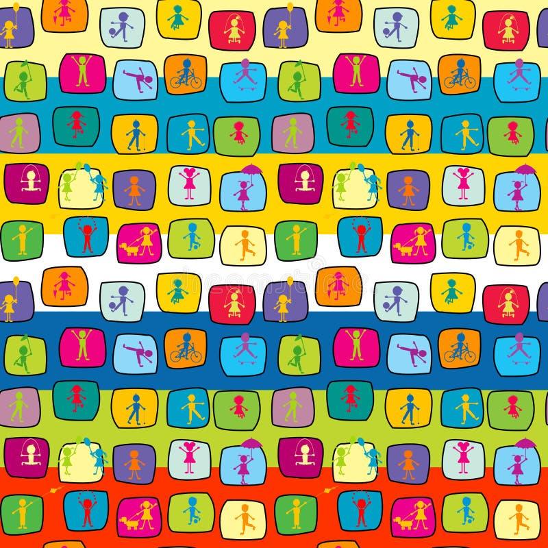 Fundo sem emenda colorido do sumário com crianças estilizados ilustração stock