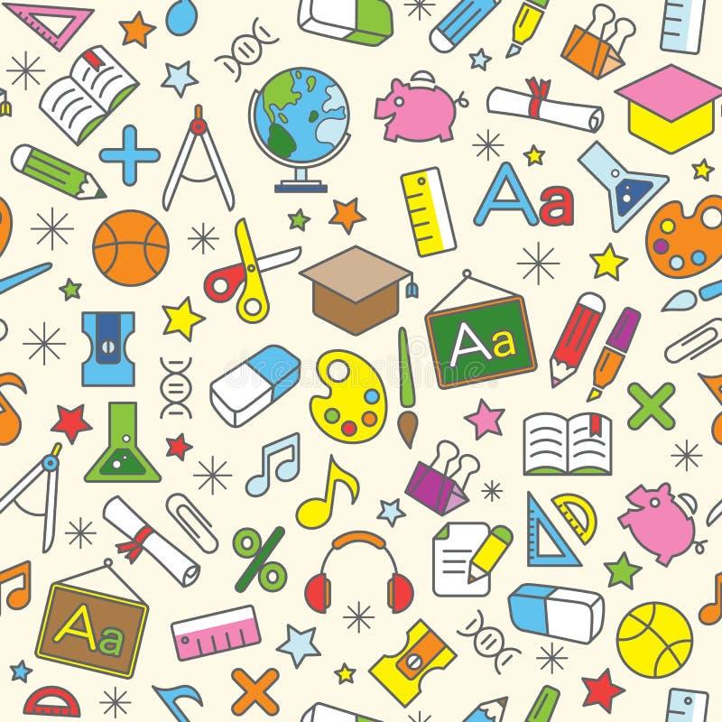 Fundo sem emenda colorido do teste padrão da escola e do ícone da educação ilustração do vetor
