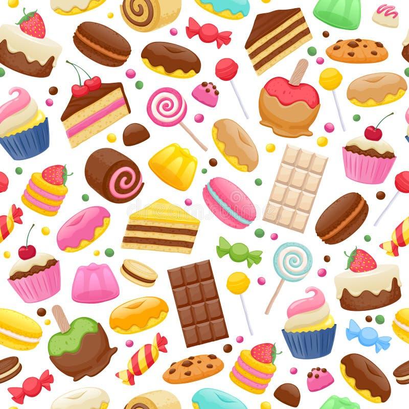 Fundo sem emenda colorido dos doces sortidos ilustração royalty free