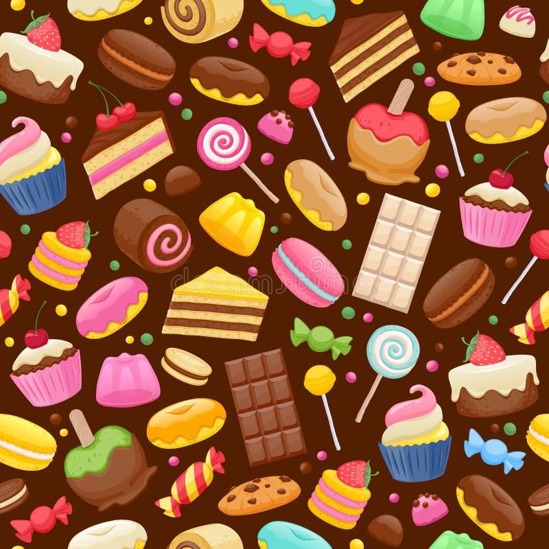 Fundo sem emenda colorido dos doces sortidos ilustração stock
