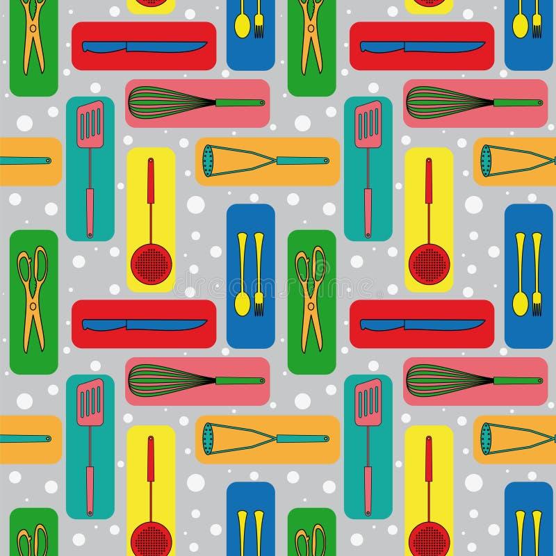 Fundo sem emenda com ícones de mercadorias da cozinha ilustração stock