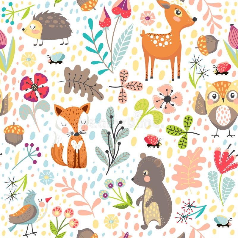 Fundo sem emenda com animais da floresta ilustração do vetor