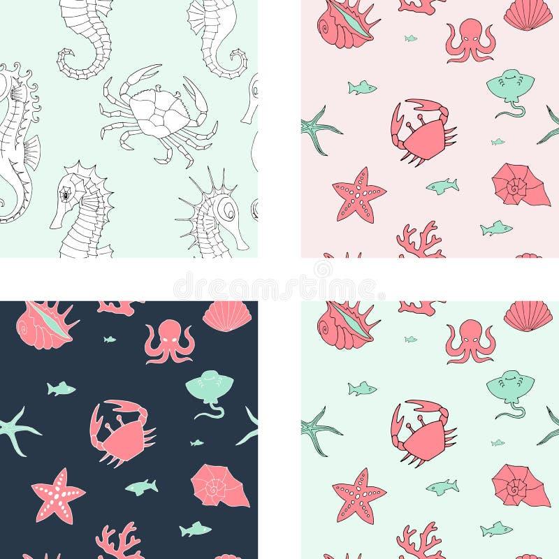 Fundo sem emenda com animais e elementos de mar ilustração royalty free