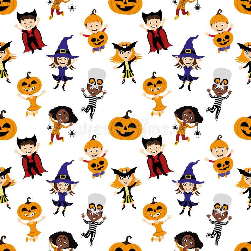 Fundo sem emenda com as crianças nos trajes para o Dia das Bruxas ilustração royalty free