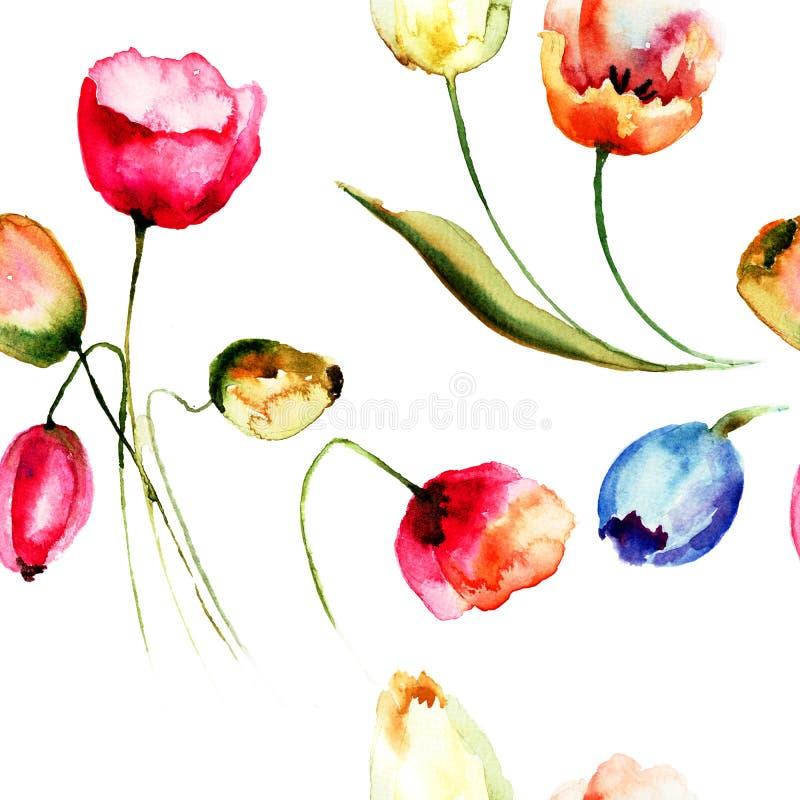 Fundo sem emenda com as flores bonitas das tulipas ilustração do vetor