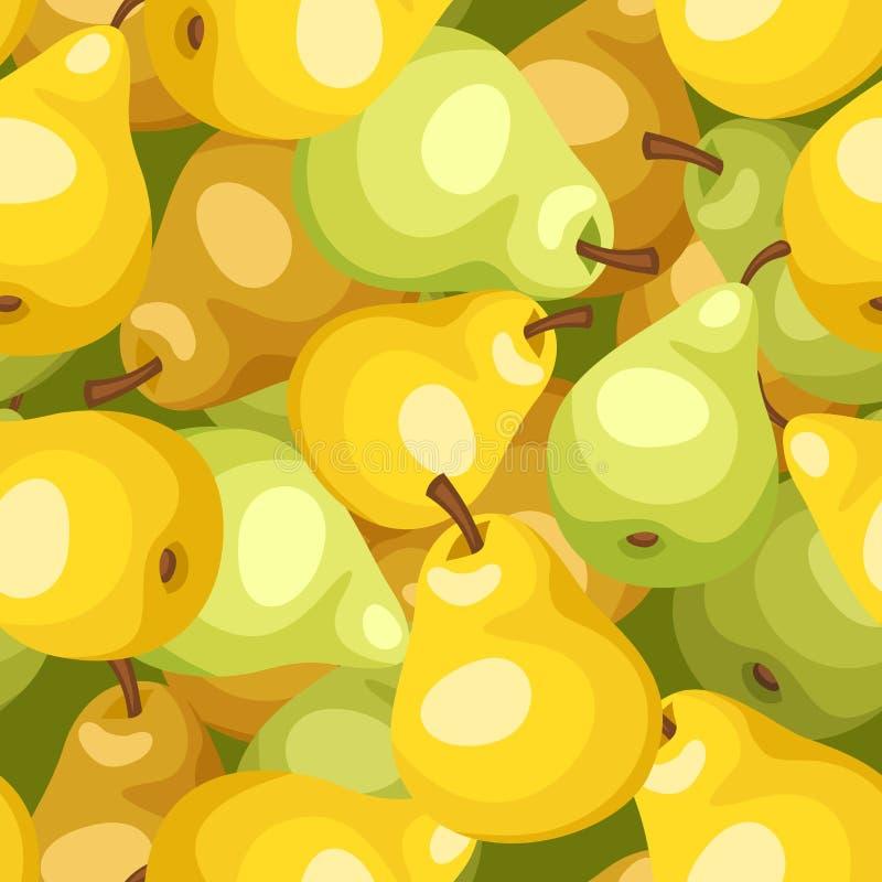 Fundo sem emenda com as peras amarelas e verdes. ilustração do vetor