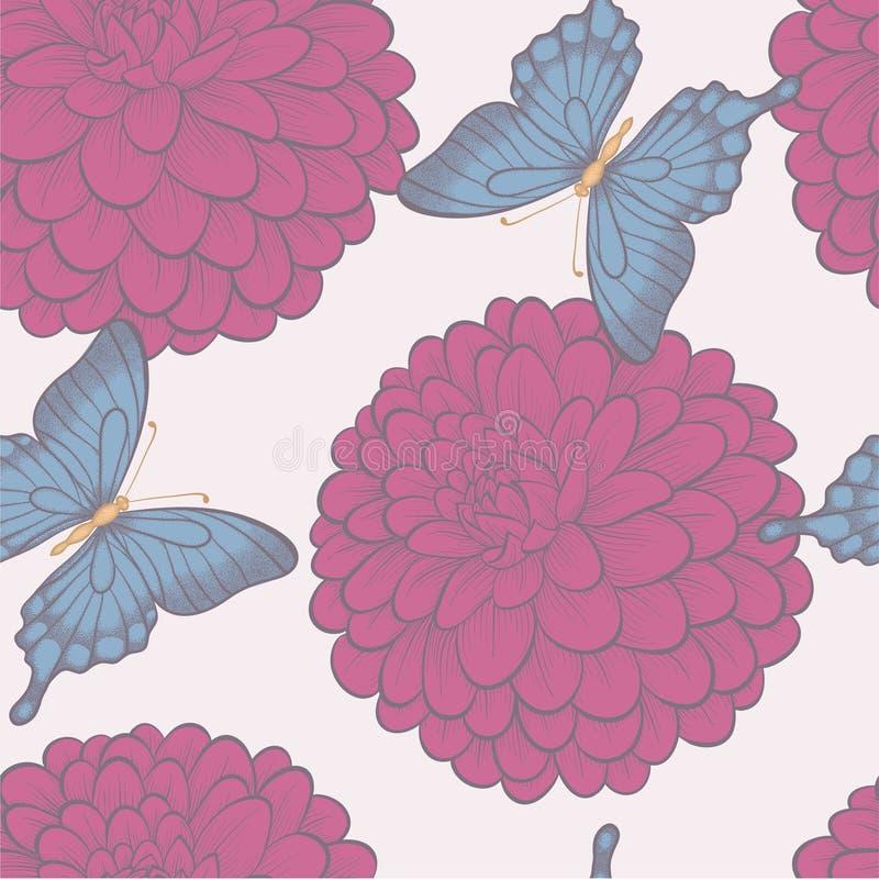 Fundo sem emenda com borboletas e dálias das flores em cores pastel do vintage. ilustração stock