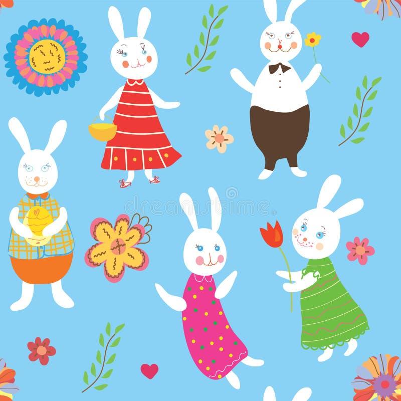 Fundo sem emenda com coelhos ilustração stock