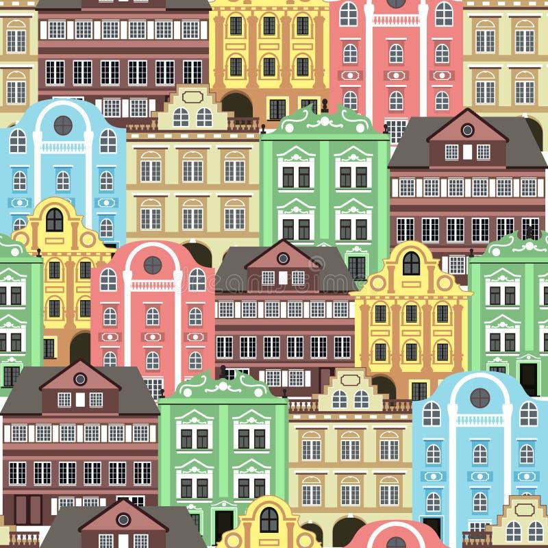 Fundo sem emenda com construções coloridas velhas para o projeto do papel de parede ou do fundo ilustração royalty free