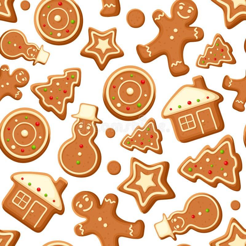 Fundo sem emenda com cookies do pão-de-espécie Ilustração do vetor ilustração do vetor