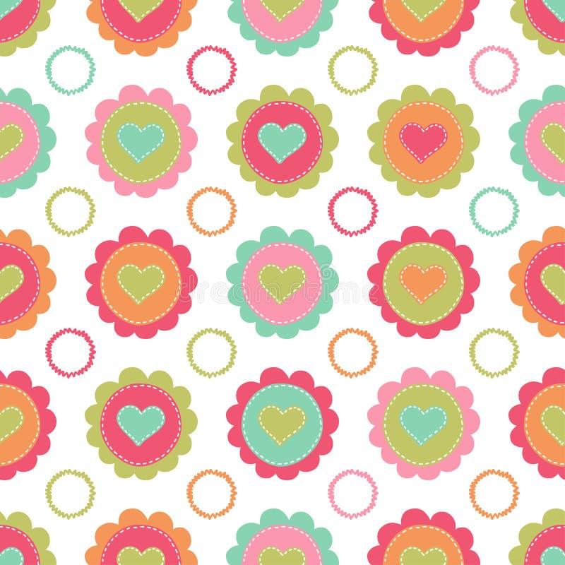 Fundo sem emenda com corações e flores ilustração royalty free