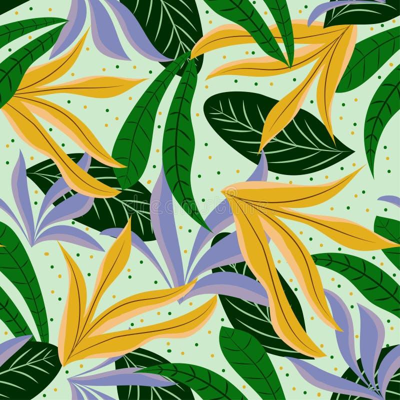 Fundo sem emenda com cores brilhantes e as folhas tropicais Projeto do vetor C?pia lisa da selva foto de stock royalty free