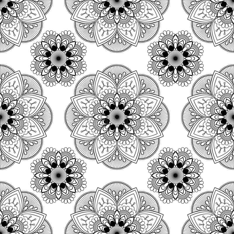 Fundo sem emenda com a decoração floral do buta da hena do mehndi no fundo branco no estilo indiano ilustração royalty free
