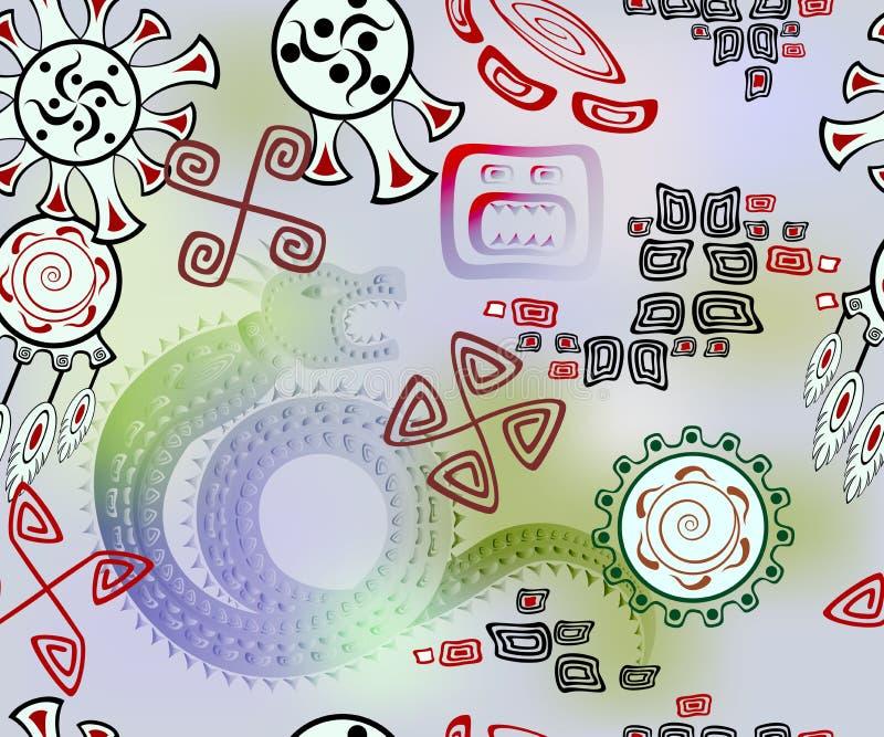 Fundo sem emenda com dragão e símbolos do indiano do sol e do céu Ilustração do vetor EPS10 ilustração royalty free