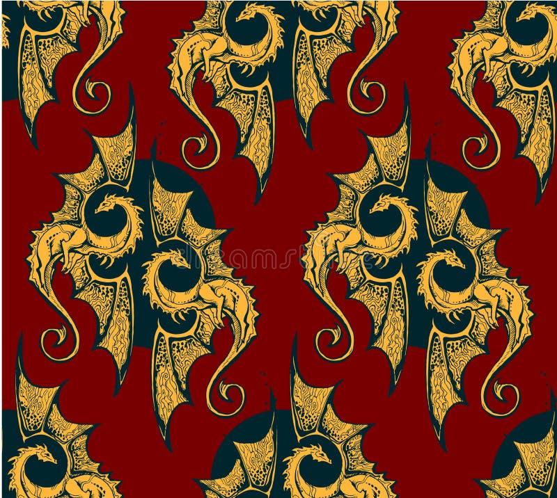 Fundo sem emenda com dragões do ouro para a saga heroico ou os epos cavalheirescos ilustração royalty free