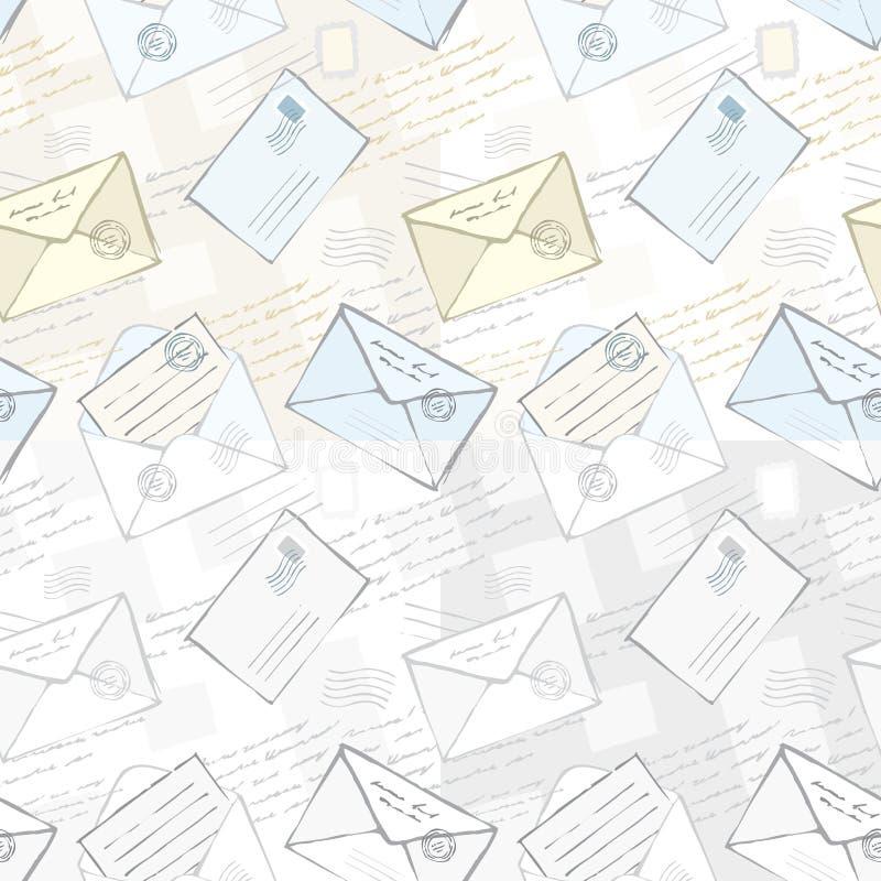 Fundo sem emenda com envelopes ilustração royalty free