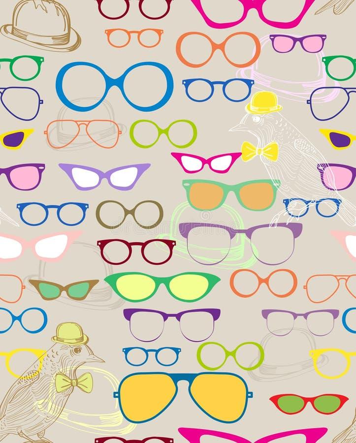 Fundo sem emenda com eyeglasses da cor ilustração royalty free