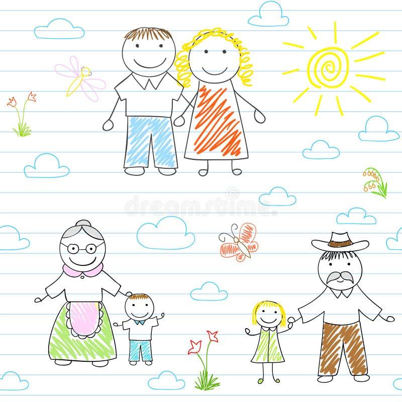 Fundo sem emenda com família feliz ilustração do vetor
