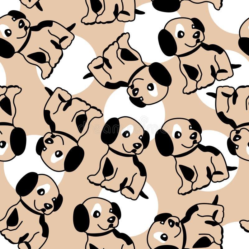 Fundo sem emenda com filhote de cachorro ilustração stock