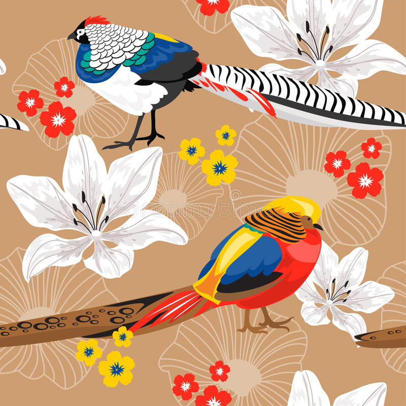 Fundo sem emenda com flores e faisão ilustração stock