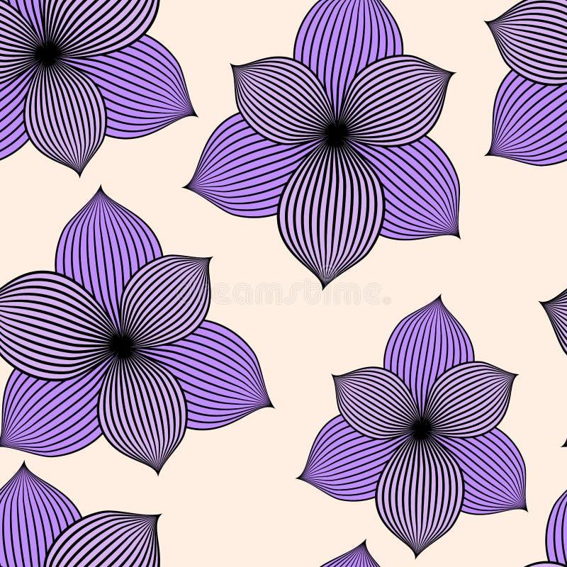 Fundo sem emenda com flores violetas ilustração royalty free