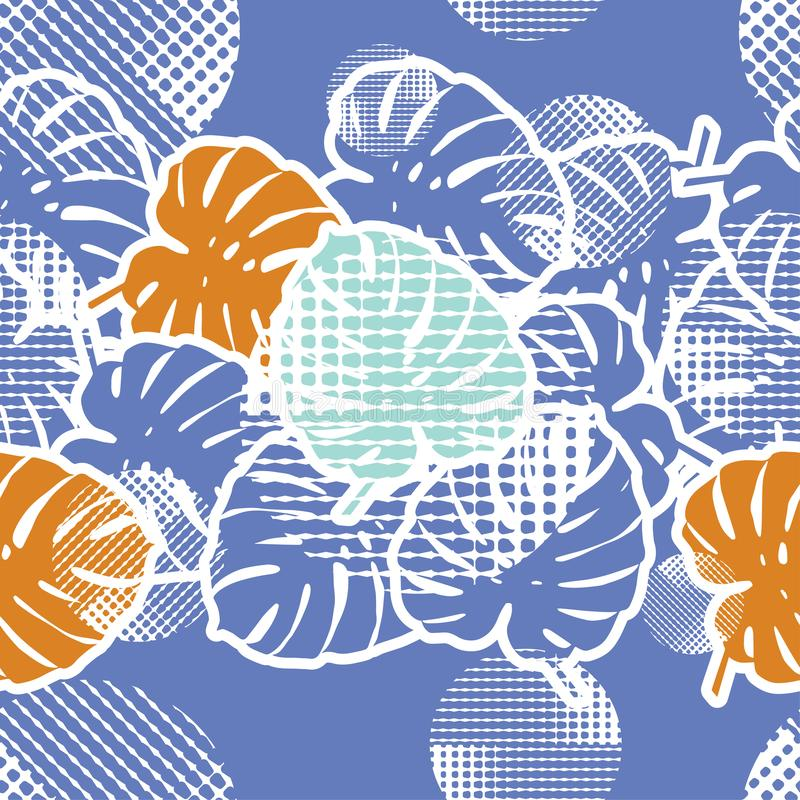 Fundo sem emenda com folhas decorativas Folhas de palmeira tropicais Selva tropical pontos ilustração stock