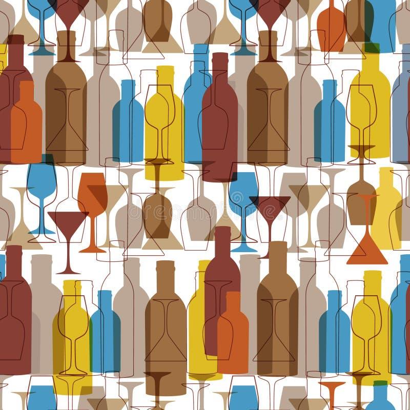 Fundo sem emenda com frascos e vidros de vinho O teste padrão brilhante do vinho das cores para a Web, o cartaz, a matéria têxtil ilustração do vetor