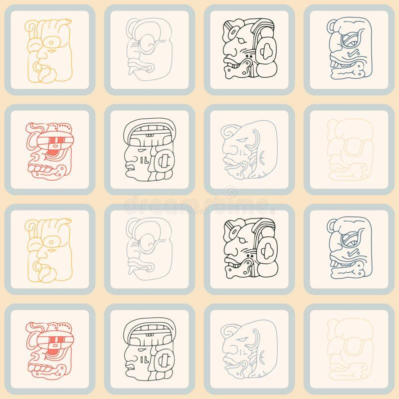 Fundo sem emenda com glyphs dos numerais da cabeça do Maya ilustração stock