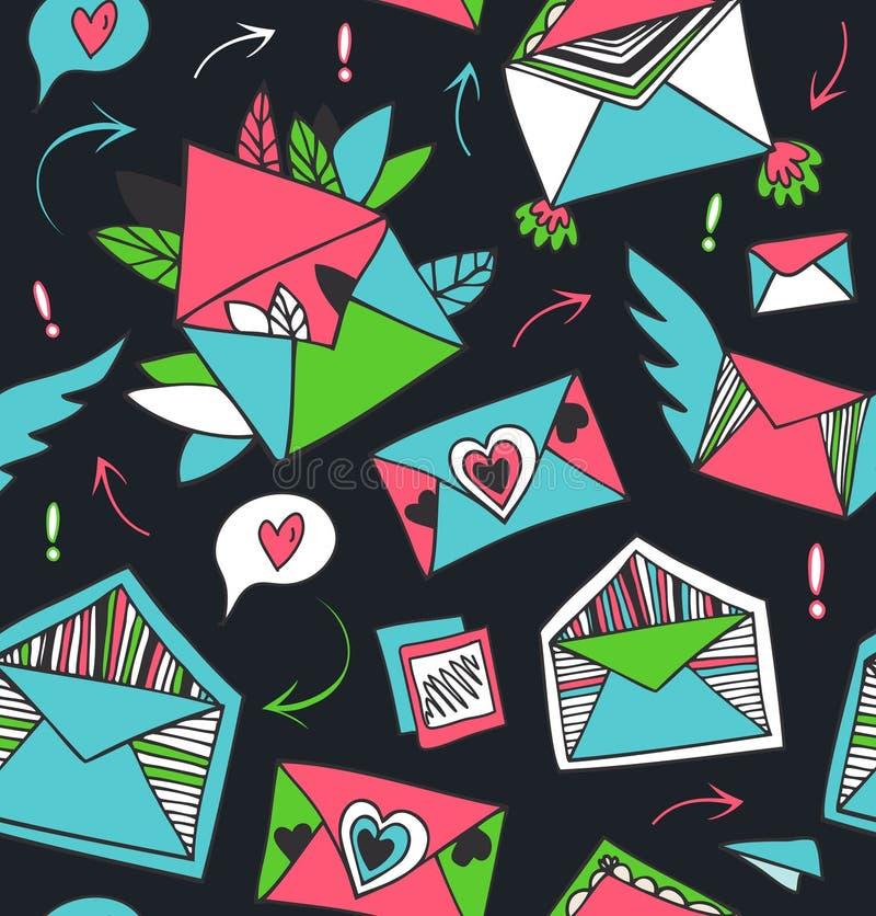 Fundo sem emenda com letras tiradas bonitas, envelopes ilustração stock