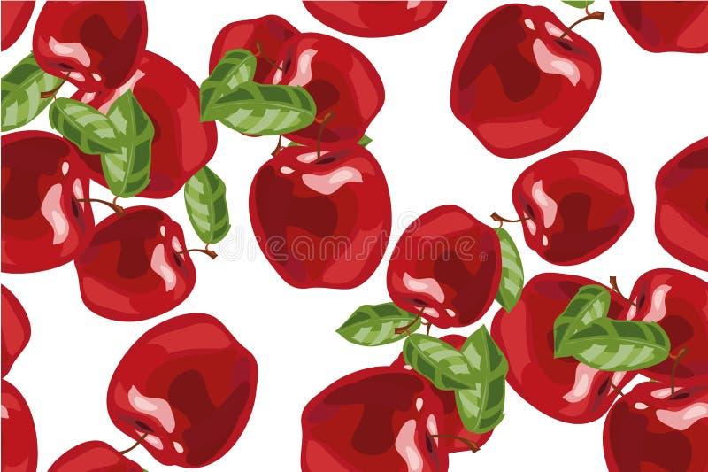 Fundo sem emenda com maçãs e as folhas vermelhas Ilustração do vetor ilustração stock