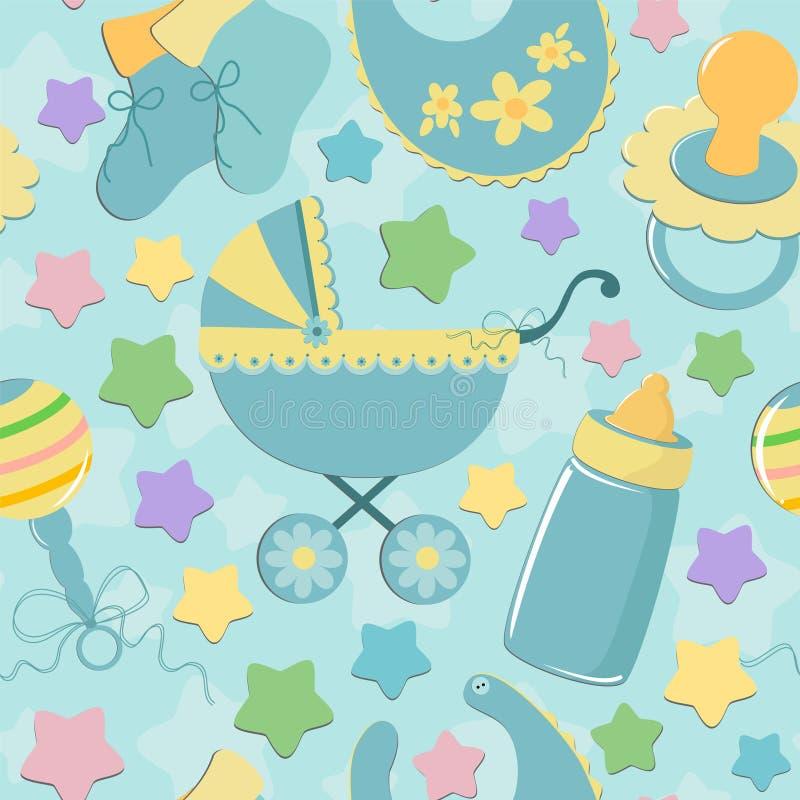 Fundo sem emenda com objetos do bebê ilustração royalty free