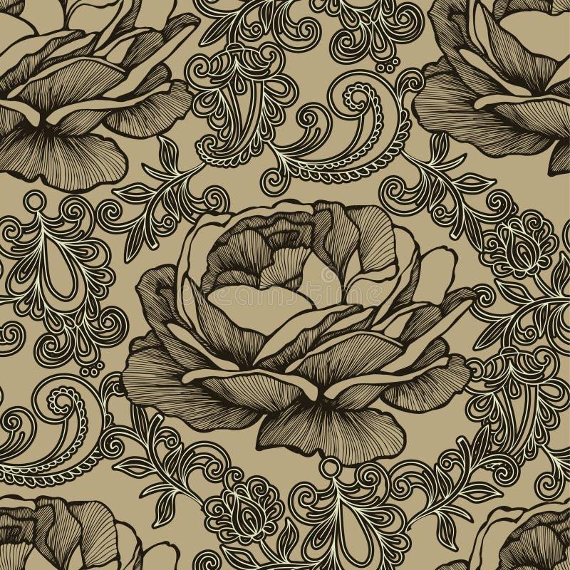 Fundo sem emenda com ornamento floral e rosas Illus do vetor ilustração do vetor