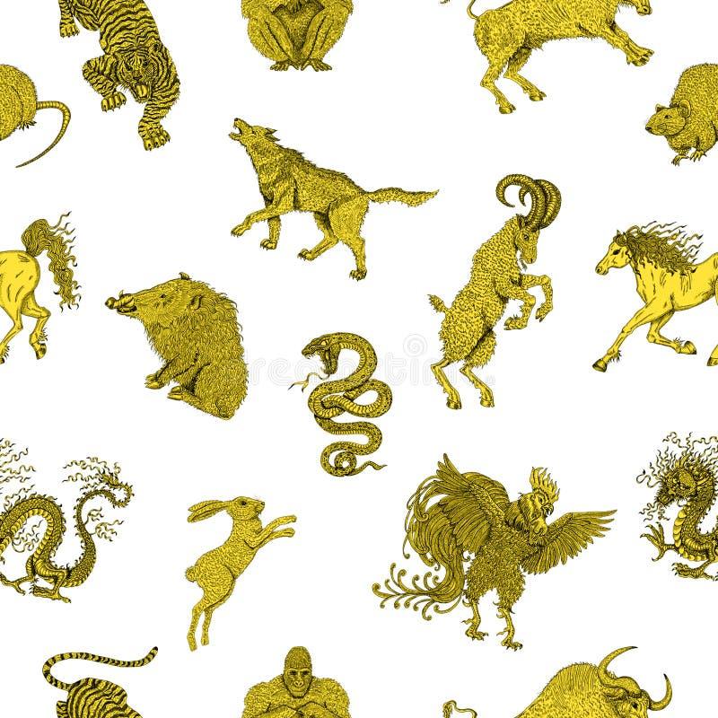 Fundo sem emenda com os animais chineses do zodíaco no branco ilustração stock