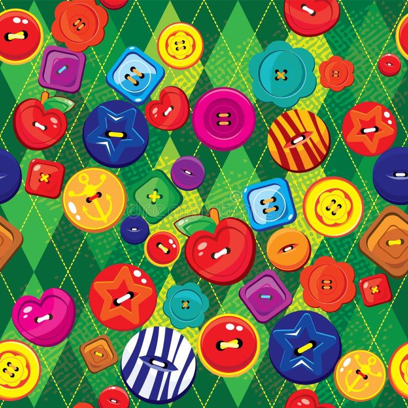 Fundo sem emenda com os botões sewing coloridos ilustração stock