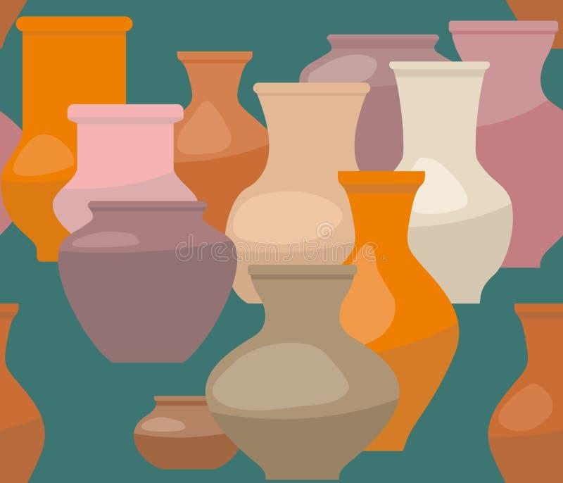 Fundo sem emenda com os vasos da argila no fundo verde ilustração stock