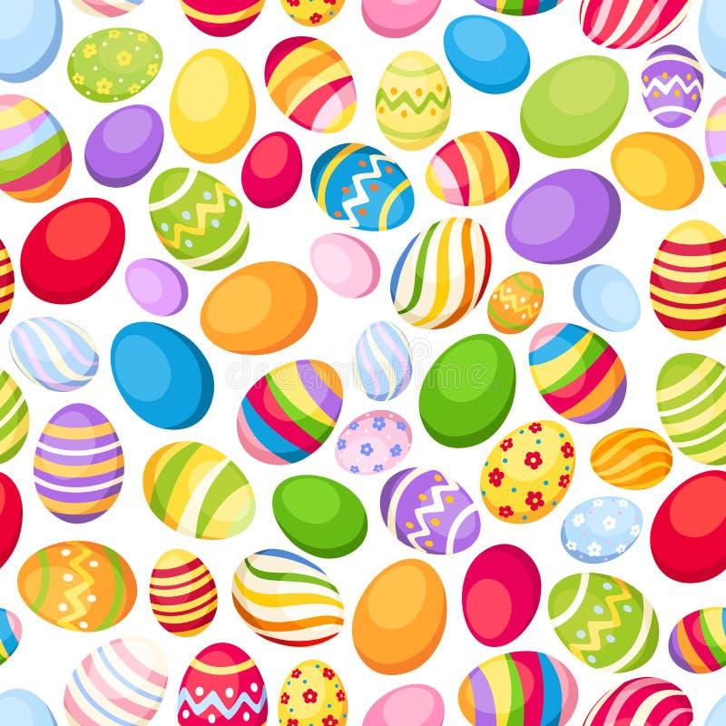 Fundo sem emenda com ovos da páscoa coloridos. Vec ilustração do vetor