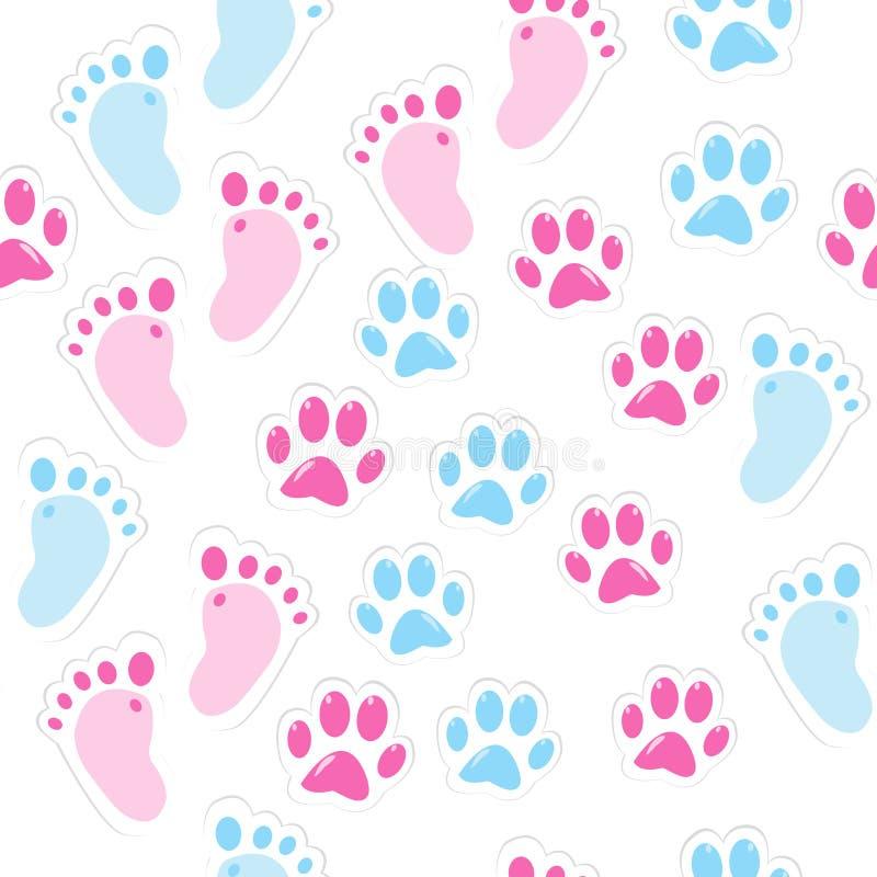 Fundo sem emenda com pegada do bebê e as patas animais ilustração royalty free