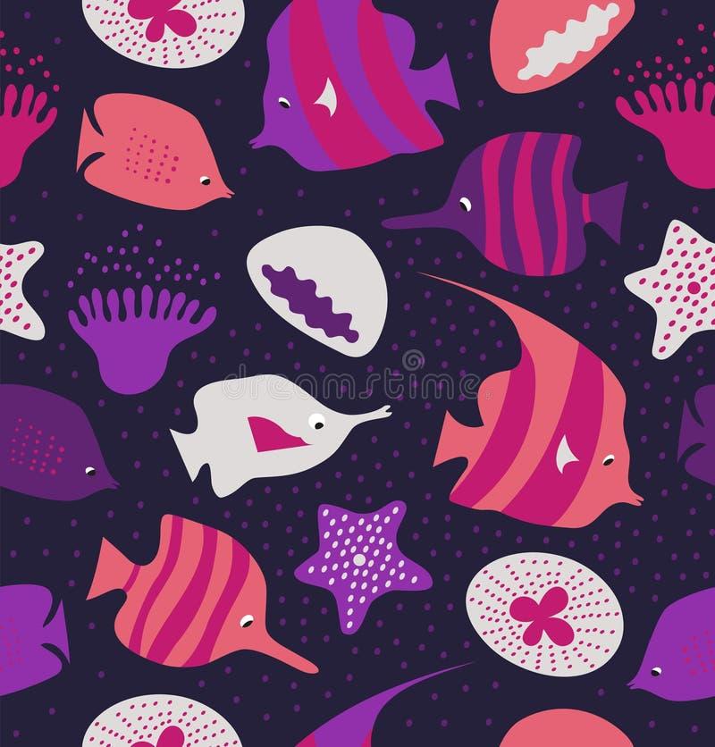 Fundo sem emenda com peixes bonitos, medusa Textura marinha teste padrão com criaturas do mar ilustração royalty free