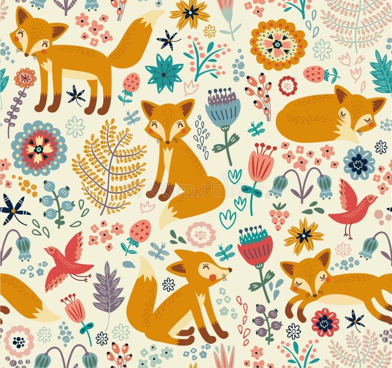 Fundo sem emenda com raposas bonitos e flores ilustração stock