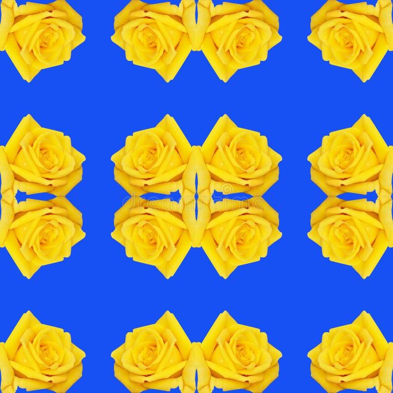 Fundo sem emenda com repetição dos botões das rosas amarelas e da cor azul ilustração stock
