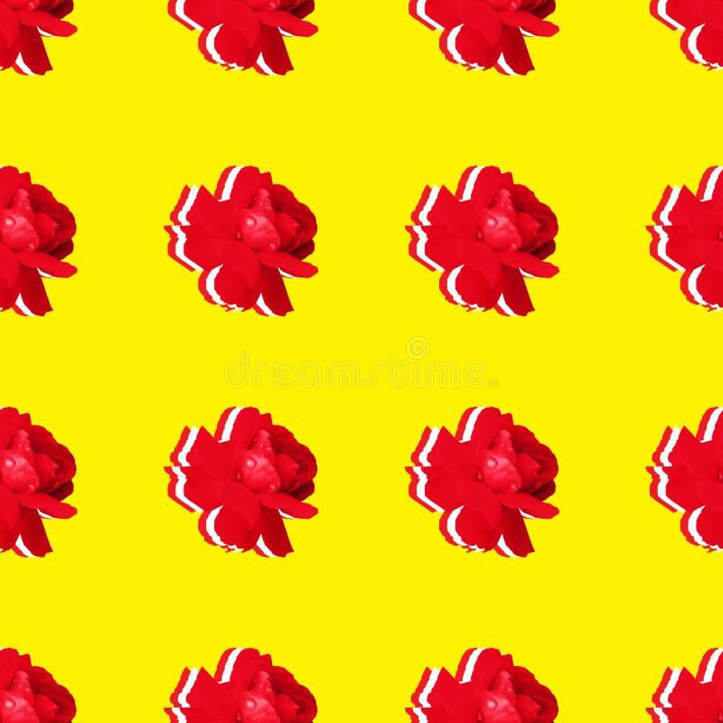 Fundo sem emenda com repetição dos botões vermelhos das rosas fotos de stock